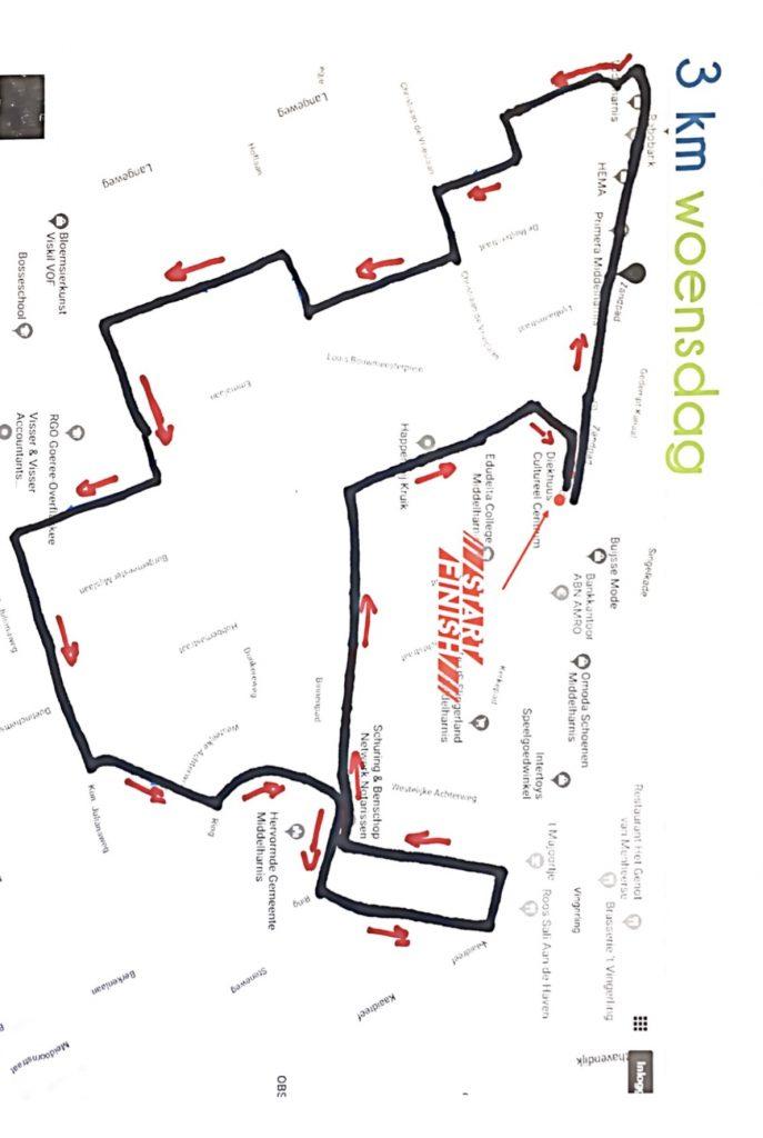 Plaatje route woensdag 3 Km